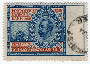(I.B) George V Revenue : Post Office Savings Bank Receipt 1/- (1912)