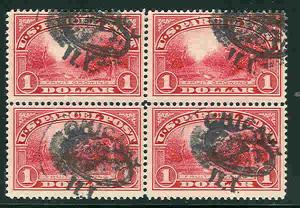 US #Q12 $1.00 Parcel Post, Block of 4, used, VF, Scott $225.00