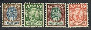 $Liechtenstein Sc#75//79 M/H/F-VF, part set, Cv. $67