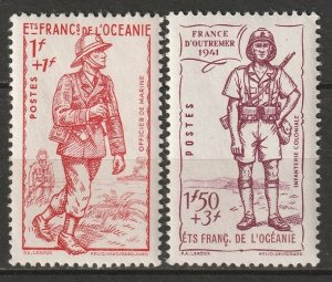 French Polynesia 1941 Sc B11-2 partial set MH*