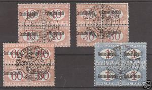 Italy, Constantinople Sc J1-4 MNH. 1922 Postage Dues, Blocks of 4