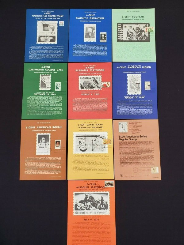 1968,69,70,71,79 Vintage USPS Bulletin Board Poster Folded Lot of 10 FDI Cancel