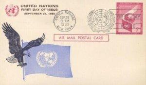 UN #UXC3 5c AIRMAIL PC - Overseas Mailer brown text
