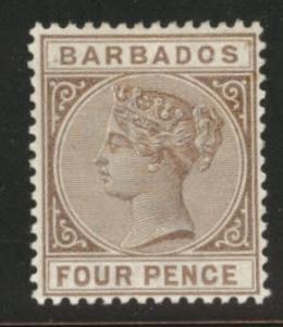Barbados Scott 65 Victoria MH* 1885 perf 14, wmk 2