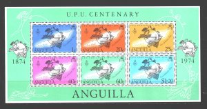 Anguilla. 1974. bl6. 100 years of UPU. MNH.