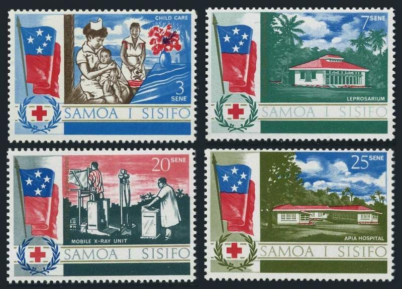 Samoa 275-278,MNH.Michel 162-165. Health Service,1967.Flags.care,Leprosarium.