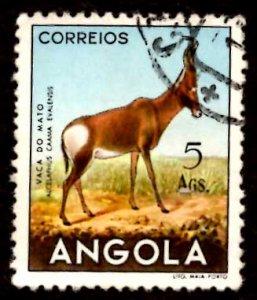 Angola 1953 African Hartebeest Wild Animals 5a Scott.376 Used (#8)