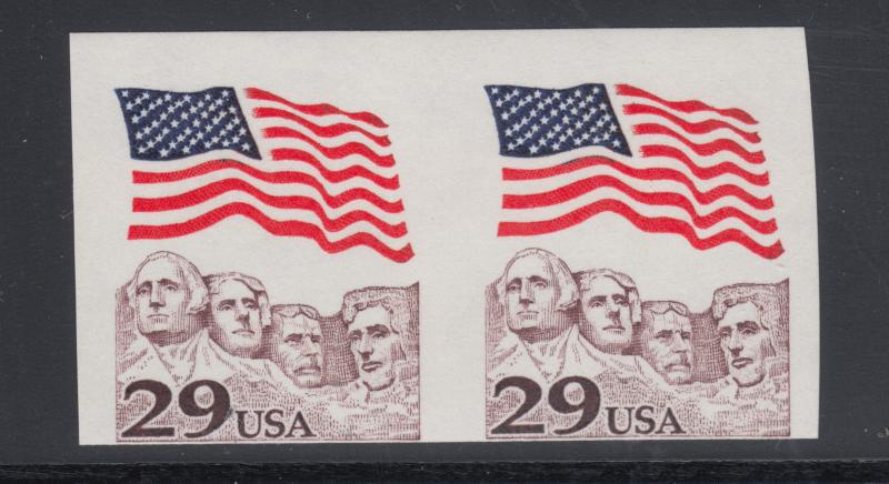 US Sc 2523b MNH. 1991 29c Flag over Mt. Rushmore, Imperf Coil Pair