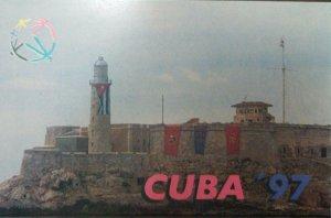 A) 1997, CUBA, POSTCARD LIGHTHOUSE MORRO OF HAVANA
