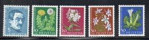 Switzerland Sc B296-302 1960 Pro Juventute Flowers stamp set mint NH