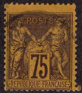 FRANCE Used Scott # 102 Peace & Commerce - remnant (1 Stamp) -1