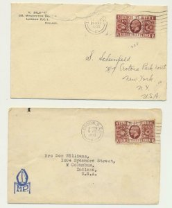 GB 1935, 1½d SILVER JUBILEE ON 2 COMMERCIAL COVERS TO USA (SEE BELOW)