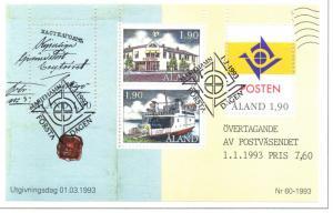 Aland Sc 72 1993 postal Autonomy stamp sheet used