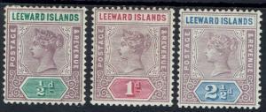 LEEWARD ISLANDS 1890 QV 1/2D 1D AND 21/2D