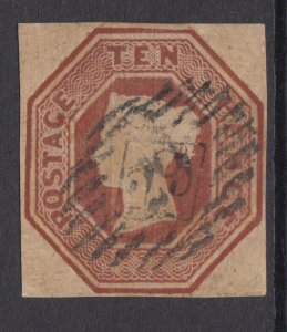 SG 57 10d Brown initially VFU with attractive, lightly struck Diamond 29 cancel.