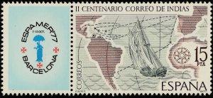 SPAIN 2065, ESPAMER'77 STAMP SHOW W/LABEL. MINT, NH. F-VF. (144)
