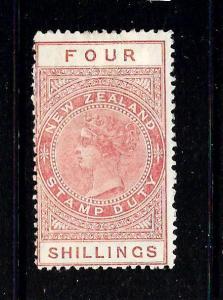 NEW ZEALAND  1882-27 4/-   QV  REVENUE  MLH   P12 1/2  SG F37  Sc AR5