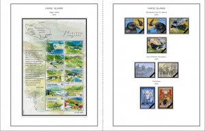 COLOR PRINTED FAROE ISLANDS 1919-2010 STAMP ALBUM PAGES (84 illustrated pages)