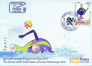 MONTENEGRO/2019, (FDC) The Games of the Sm. Sta. of Europe (Mascott, Sport), MNH