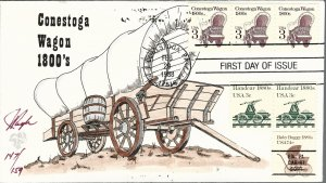 Beautiful Pugh Painted Conestoga Wagon Coil FDC -only 159 created...