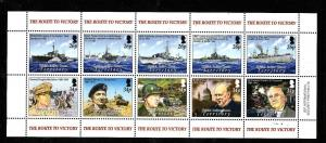 BIOT-Sc#304-unused NH sheet-End of WWII-Ships-Churchill-Montgomery-2005-