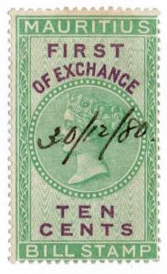 (I.B) Mauritius Revenue : Bill of Exchange 10c (First)