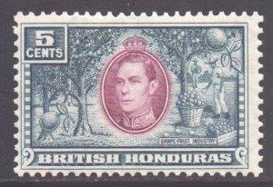 Br Honduras Scott 119 - SG154, 1938 George VI 5c MH*