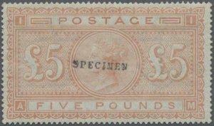 MOMEN: GREAT BRITAIN SG #137s £5 ORANGE SPECIMEN MINT OG H LOT #60203