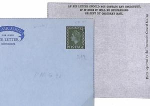 K88 GB PRIVATE AIR LETTER STATIONERY 1960s QEII 9d Die STO Air Mail Cover Unused