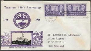 USA 1946 CROSBY photo FDC to New Zealand - 3c Tennessee....................55577