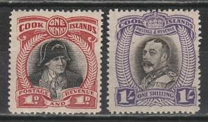 COOK ISLANDS 1932 KGV AND COOK 1D AND 1/- NO WMK PERF 14