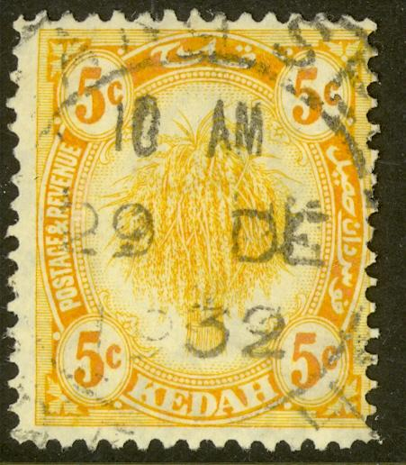 MALAYA KEDAH 1921-36 5c SHEAF OF RICE Issue Scott 30 VFU