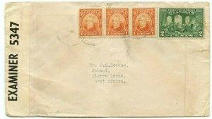 Confederation Issue to SIERRA LEONE 1941 censored Berm. w/receiver cover Canada
