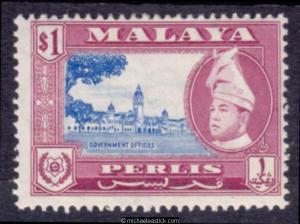1957 Malaya Perlis $1 Ultramarine & Red Purple, SG 38, MH