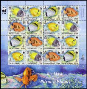 Pitcairn WWF Coral Reef Fish Sheetlet of 4 sets SG#807-810 MI#805-808 SC#705a-d