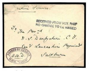 N92b GB WW1 NAVAL SUBMARINE BASE *HMS Lucia* Oval Censor Cover