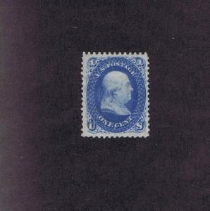 SC# 63 UNUSED OG H 1 CENT FRANKLIN, 1861, BIG BRIGHT! PSAG CERT.