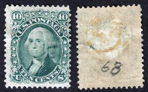 US Sc 68 Green 10¢ Original Gum Previously Hinged