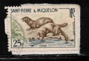 ST PIERRE & MIQUELON Scott # 359 Used On Piece - Mink