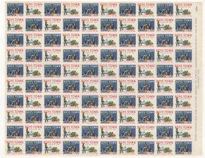 USA Boy's Town Christmas Seals 1958 Sheet of 100 Stamps MNH