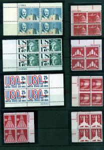 8 Air Mail Plate Blocks of 4