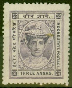 Indore 1904 3a Violet SG13 Fine and Fresh Lightly Mtd Mint