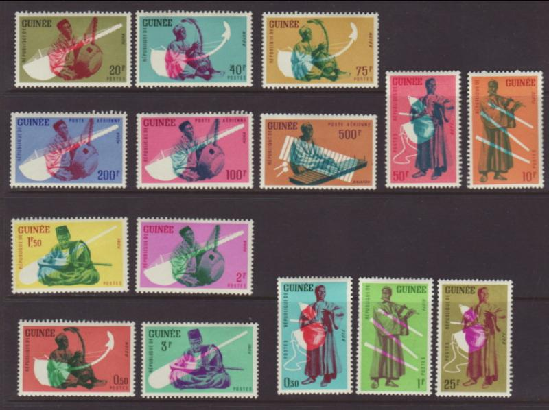 Guinea 238-247,C32-C34 Musical Instruments MNH VF