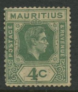 Mauritius - Scott 213 - KGVI Definitive Issue -1938 - FU -Single 4c Stamp