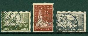 Finland 1929 700th Anniv. Abo sg260/2 (3v) VFU Stamps