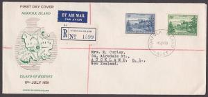 NORFOLK IS 1959 Ball Bay 3d & 2/- changed colours commem FDC - scarce........389