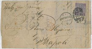 GB -  POSTAL HISTORY COVER: SG 108 w\ border - LIVERPOOL to NAPOLI - first month