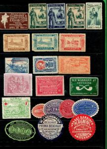 EUROPEAN CINDERELLAS - 21 ADVERTISING / STAMP SHOW SEALS - BBB