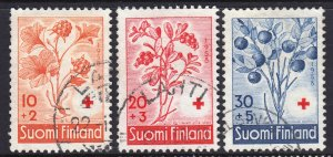 Finland 1958 Flora - Red Cross Surtax Complete Used Set SC B151-153