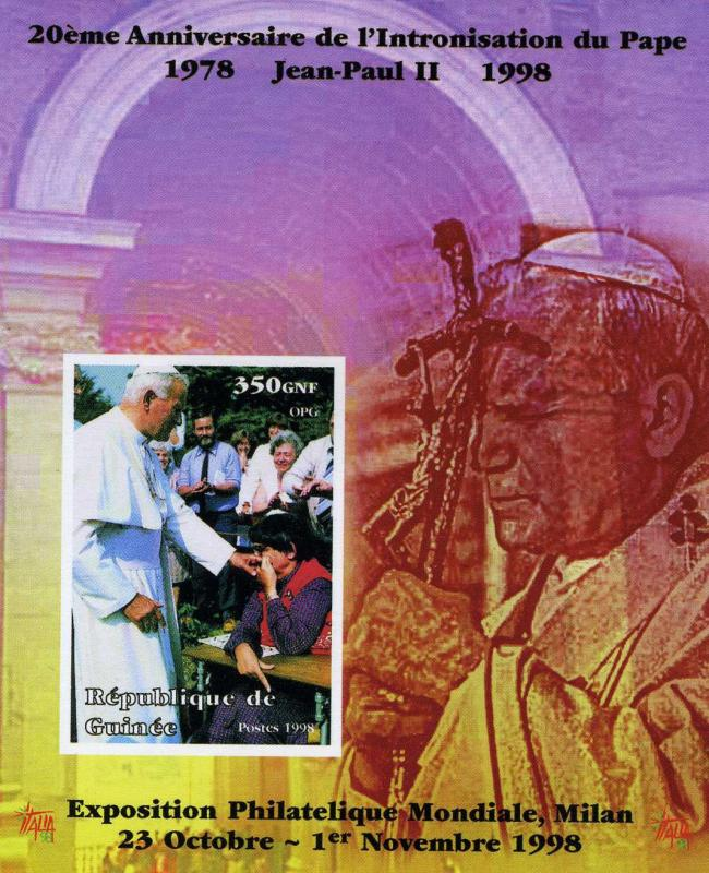 Guinea, Pope John Paul II,Souvenir Sheet Imperforated mnh.vf